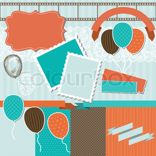 Scrapbook design elements - pattern, balloons and ribbons