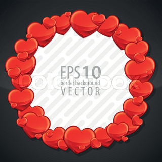 Cute red hearts eps10 vector copyspace photo frame border element in round circle shape