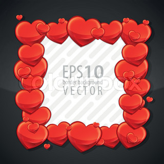 Cute red hearts eps10 vector copyspace photo frame border element in square shape
