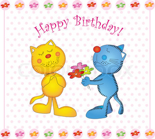 Vector card seal kitty birthday