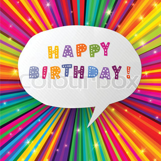 Happy birthday card on colorful rays background Vector, EPS10