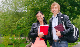Portrait of two students in campus
