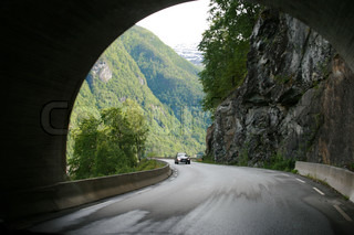 mountain road  view from the tunnel