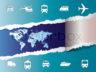 World travel map with icons vector and pin