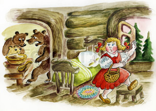 Little girl run away from angry bear`s house. Illustration of fairy tale
