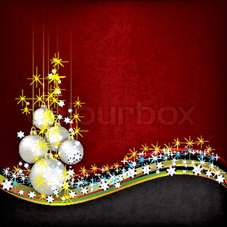 Abstract grunge background with pearl Christmas decorations on red