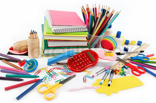 School and office supplies on white background Back to school