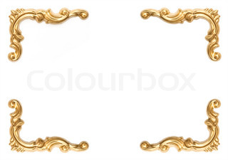 golden elements of carved frame on white