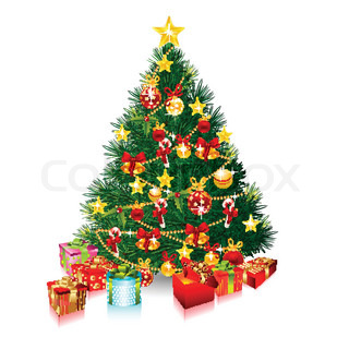 Isolated vector Christmas tree whit decordecoration ornament and copy space