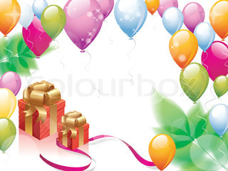 colorful balloons celebration with copy space and gift box