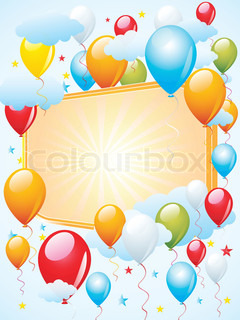 colorful balloons celebration with copy space and clouds
