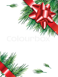 christmas card christmas greeting whit red ribbon and Pine whit copy space