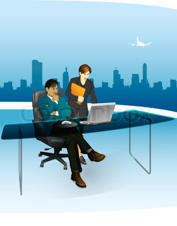 Business man in the office with his Secretary with Airpor at background