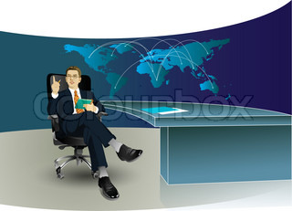 Business man in the office with world map at background
