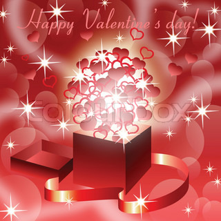 Red valentine'sbackground with magic open gift box , eps10