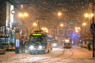 Snow Falling on Trams in the Centre of the town.