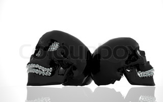 black glass skull with diamonds in the form of small skulls instead of teeth.