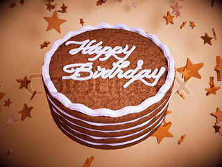 Happy birthday: cake with colorful background and stars