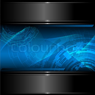 Abstract technology background with metallic banner. Vector