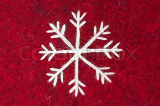 red felt with embroidered white snowflake