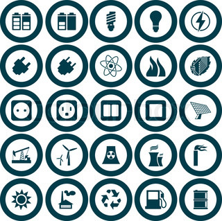 Electricity, power and energy icon set Vector illustration