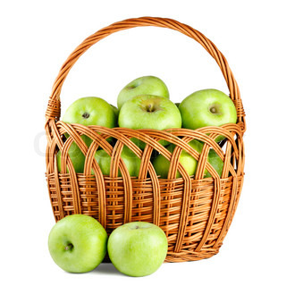 Green apples in basket isolated on white background