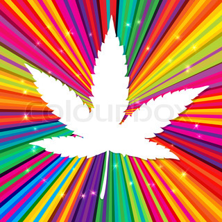 Cannabis leaf on abstract psychedelic background,