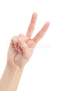 Hand with two fingers up in the peace or victory symbol Also the sign for the letter V in sign language Isolated on white