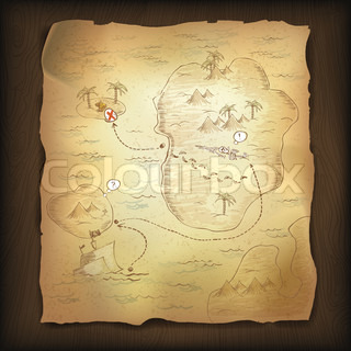 Treasure map on wooden background