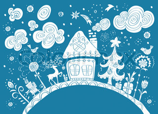 Christmas hand drawn background with place for text