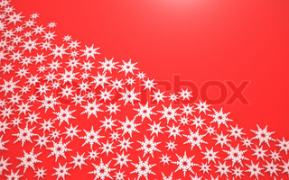 Abstract white snowflake on a red background
