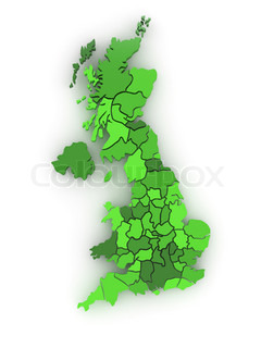 Three-dimensional map of Great Britain