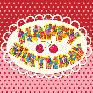 happy birthday, letters are made of different gift boxes and presents Oval frame on polka dot background