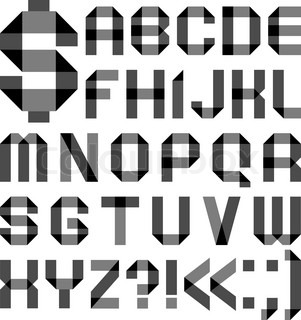 Font from a paper transparent tape - Alphabet letters