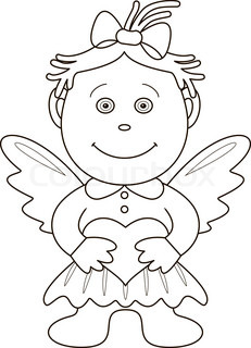 Girl angel with valentine heart, outline