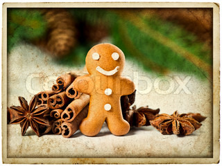 smiling gingerbread man with christmas spices