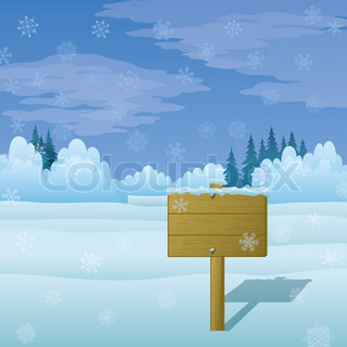 Wood sign for text on background of winter Christmas landscape