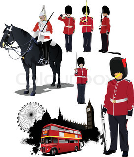 Big collection of London image Vector illustration