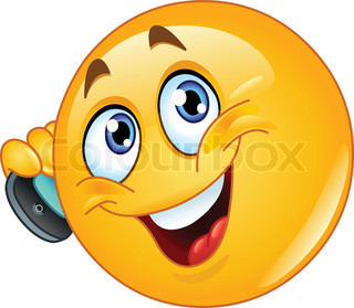 Emoticon talking on cell phone