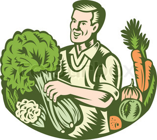 Illustration of an organic farmer green grocer with leafy green vegetables crop farm harvest done in retro woodcut style