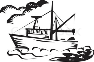 illustration of a tugboat ship at sea done in retro woodcut style black and white