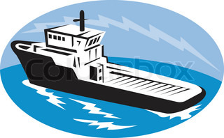 illustration of a tugboat ship at sea done in retro woodcut style set inside ellipse