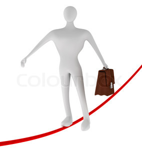 3d businessman walking on thin rope