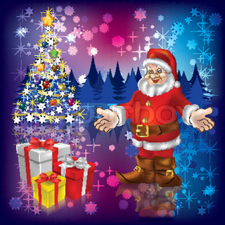 Christmas tree with Santa Claus and gifts