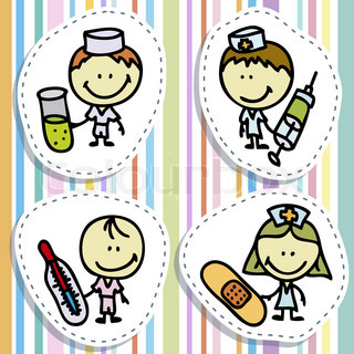 Icon set of doodle happy doctor children with medical tools plays hospital