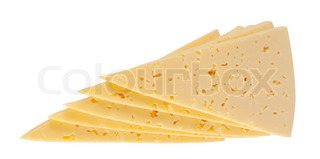 Triangular pieces of sliced cheese