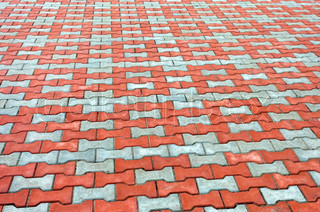 Red and grey paving tiles