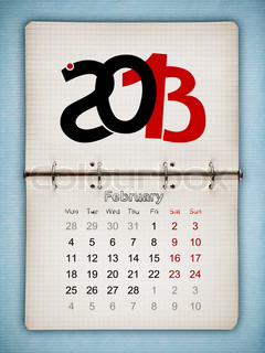 February 2013 Calendar, open old notepad on blue paper