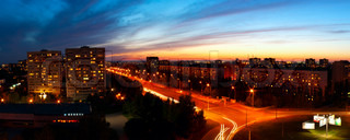 Panoramic night city. Beautiful city evening landscape