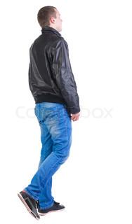 Back view of walking handsome man in jacket
